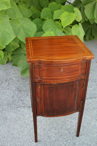 Inlaid English Sheraton Solid Mahogany Nightstand