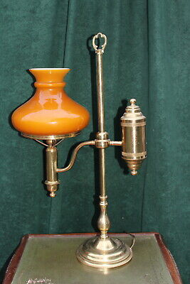 RARE ANTIQUE HEAVY FRENCH VINTAGE BRASS TABLE LAMP WITH GLASS SHADE FOR SALE  ()