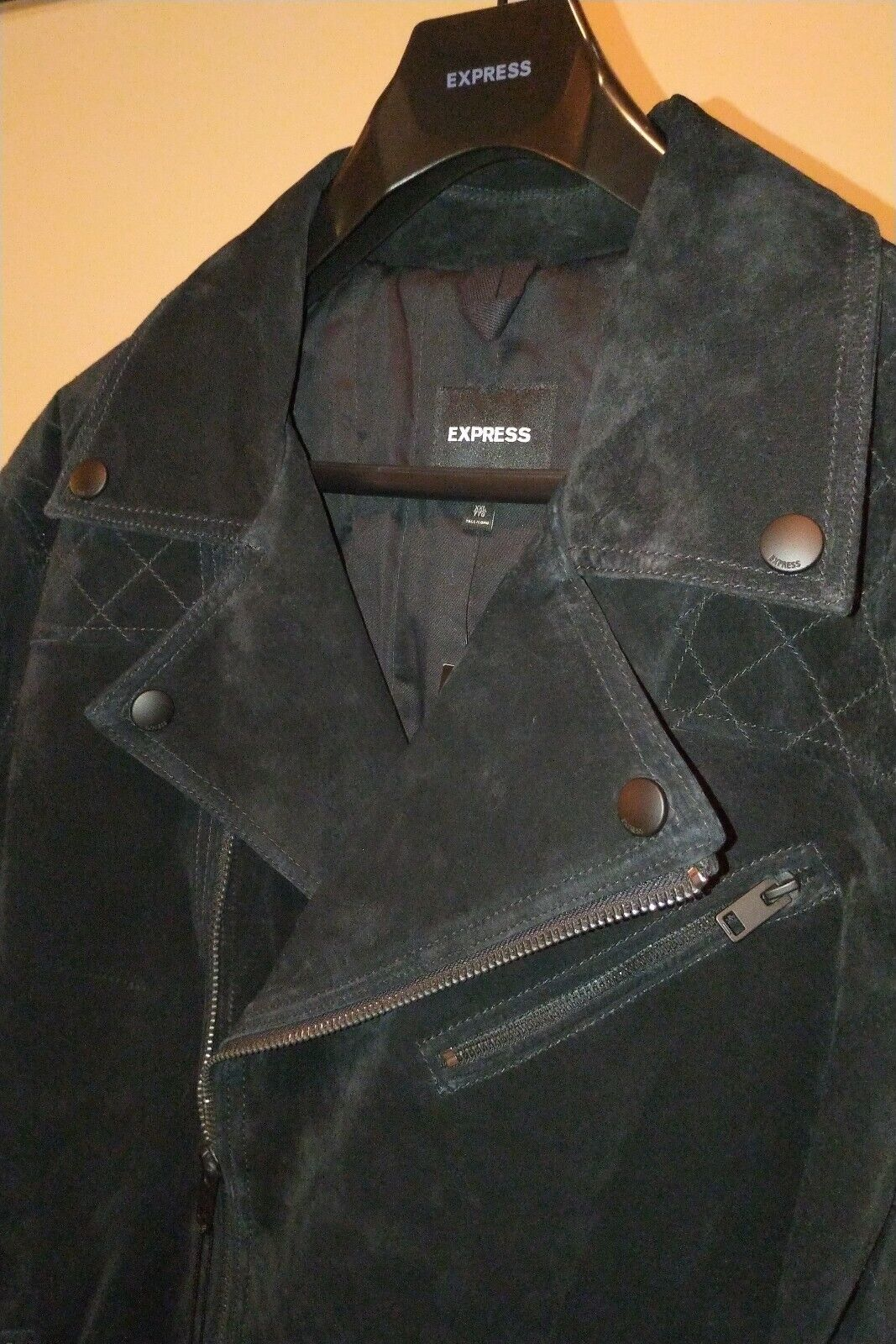 Brandslock Mens Leather Biker Jacket Genuine Goat Suede Bomber Denim