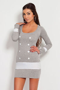 NEW ☼ Sexy Women's Mini Dress Buttons ☼ Bodycon Scoop Neck Tunic Size 8-18 8078
