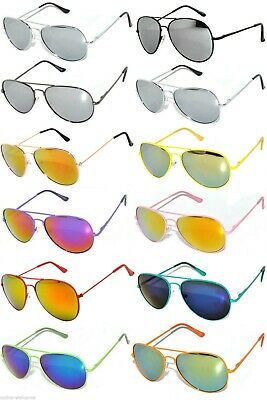 WHOLESALE SET OF 12 AVIATOR STYLE METAL FRAME MIRROR COLORED LENS SUNGLASSES (Coloured Mirrored Aviators)