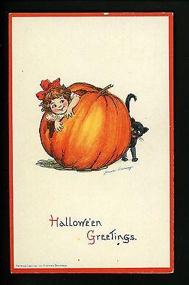 Halloween Postcard Gabriel, Sam Artist Brundage 123-9 Pumpkin black cat child