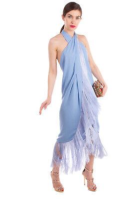 RRP €760 CULT GAIA Wrap Dress Size M Fringe Open Back Halterneck Made in USA