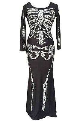 Schädel Skelett Damen Kleid Kostüm Halloween Skelettkostüm schwarz