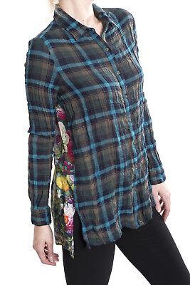 Johnny Was Heaven Scarf Back Plaid Womens Shirt Top  W15917 New Boho Chic
