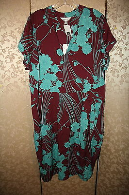 Anna Scholz NWT Wine Blue Green Multi-Color Floral Double Silk Oriental Dress 16 (Anna Green Dress)