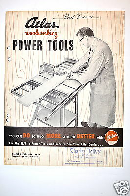Atlas Woodworking Power Tools Catalog No. W55 1954 Rr171 Saw Drill Jointer