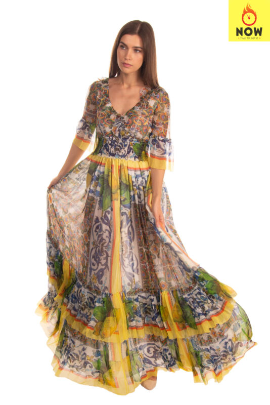 RRP€3610 DOLCE & GABBANA Silk Empire Line Gown Size 38 XS Majolica Made in Italy