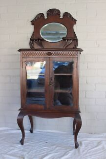 ANTIQUE GLASS CABINET WITH  BACK MIRROR Northbridge Willoughby Area Preview