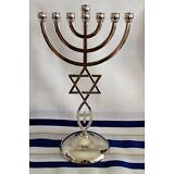 "Messianic Jewish Star of David 7 Branch Silver Temple Menorah 9"" inches Tall"