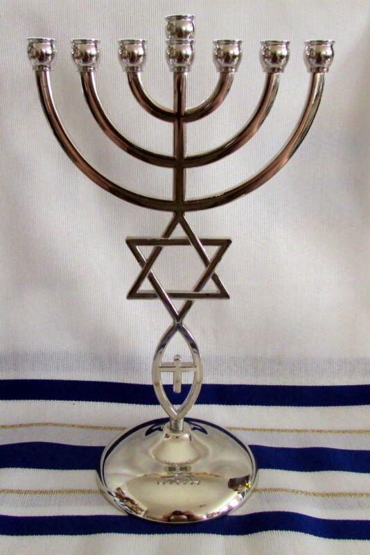 "Messianic Jewish Star of David 7 Branch Silver Temple Menorah 9"" inches Tall"