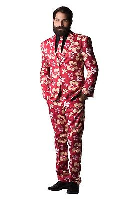Big Kahuna Red Floral Hawaiian Print Costume Suit