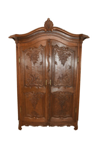 Larger Double Door French Normandy Armoire, Oak, 1900-20