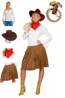 Western Kostüm Damen Rock Bluse Tuch Hut Cowgirl - Rote Cowgirl Kostüm