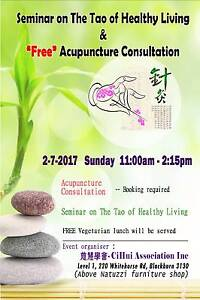 FREE Acupuncture & Vegetarian lunch 2/7/17 Sunday 12noon Blackburn Whitehorse Area Preview
