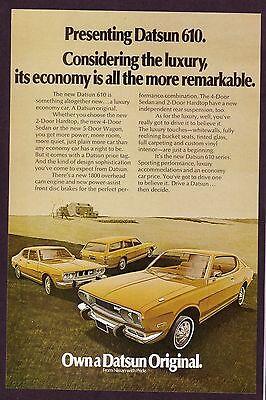 1973 Original Vintage Datsun 610 Hardtop Car Art Print Ad