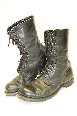 HH DOUBLE H 975 Mens 10 E Black Leather Hard Toe Lace Up Jump Military Boots