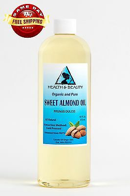 SWEET ALMOND OIL ORGANIC CARRIER COLD PRESSED REFINED 100% PURE 32 OZ