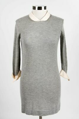 3.1 Phillip Lim Gray Cashmere Women's Crew Button Sweater Dress Size S