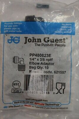 John Guest Speed Push Fit 14 Tube X 38 Nptf Male Elbow Fitting Pp480823e New