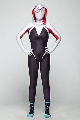 Women Spider Gwen Stacy Lycra Zentai Spiderman Costume Cos Full bodysuit US - Woman Spiderman Costume