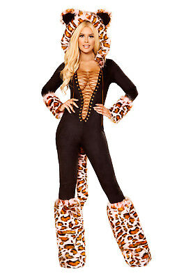 Leopard Kostüm Leo Anzug Catsuit Größenwahl Fasching Karneval Fasnacht ()