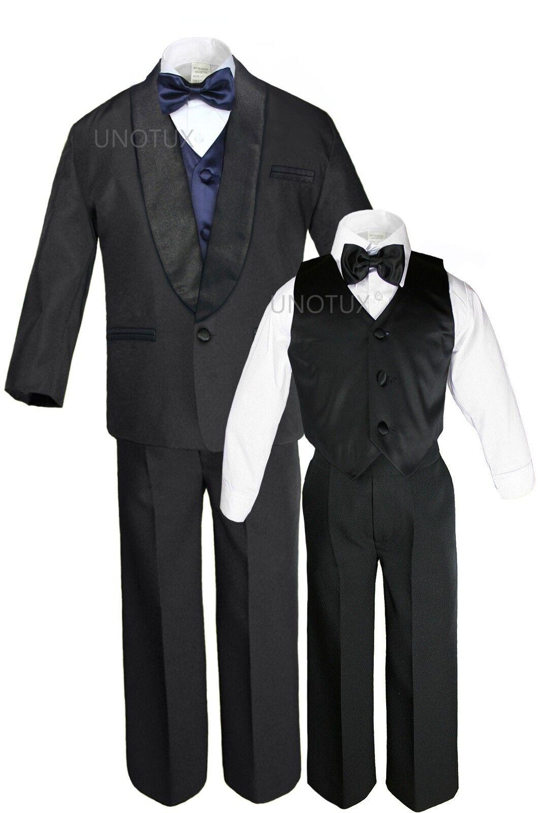 Boy Satin Shawl Lapel Suit Tuxedos Extra Navy Blue Bow Ti...