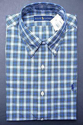 NWT POLO RALPH LAUREN MEN'S BLUE PLAIDS COTTON CASUAL DRESS SHIRT 15.5 39