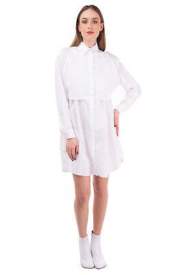 RRP €435 MM6 MAISON MARGIELA Shirt Dress Size 42 / M White Flap & Tie Details