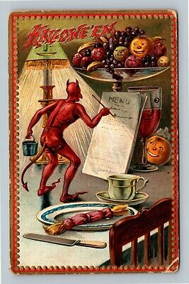HALLOWEEN Vintage TUCK Series #160 Postcard Devil Writes Menu JOL Faces