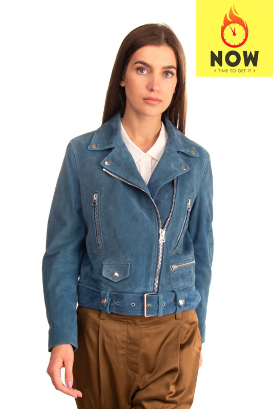 RRP €1270 ACNE STUDIOS MOCK Suede Leather Biker Jacket Size 36 / S Zipped Cuffs