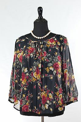 Nordstrom Rack Womens Blouse Tops Floral Pleated Front 3 4 Sleeves Fits 8 12