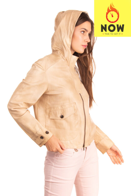 RRP €4560 BRUNELLO CUCINELLI Leather Jacket Size 42 / M Beige Lightweight Hooded