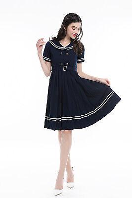 Navy Blue JK Girl School Uniform Sailor Suit Retro Dress White Striped Costumes](White Navy Uniform Costume)