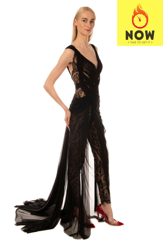 RRP€6115 MIKAEL D Lace Jumpsuit Size 40 / S Tulle Overlay Train Back Deep V Neck