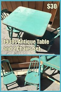 1930s Antique Child's Table and 2 Chairs