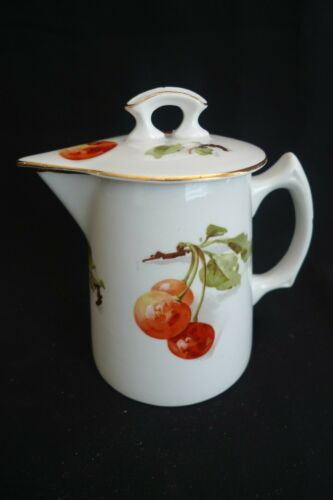 VINTAGE EDWIN M KNOWLES CHINA CO SYRUP PITCHER WITH LID HANDPAINTED CHERRIES