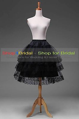 Black/White Knee Length Lace Edge Hoopless Skirts Crinoline Petticoat Slips TUTU (Lace Petticoat)