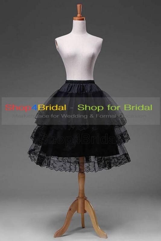 Black/White Knee Length Lace Edge Hoopless Skirts Crinoline Petticoat Slips TUTU