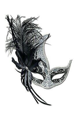 /silber m. Federn Maskenball Venezia Karneval Halloween  (Maskenball Halloween)