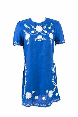 Zara Womens Mini Shift Dress XS Blue Embroidered Linen Floral 4786/092 NWT