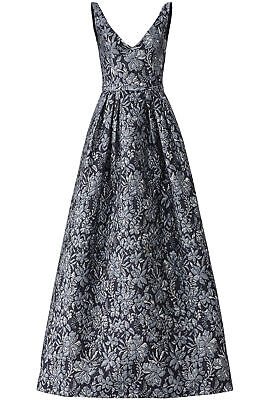 Theia Women's Dress Silver Black Size 10 Jacquard Pleated Gown $1000- #838