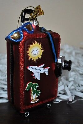 NEW Travel SUITCASE CAMERA EYEGLASSES Flight X-mas Tree Glass Blown Ornament RED