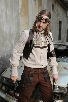 Men's Beige Victorian Steampunk Costume Shirt Ruffled Fancy Button Up Jabot S-XL