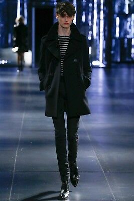 NWT SAINT LAURENT Classic Caban Tube Coat in Black Wool, S for sale  Shipping to United States