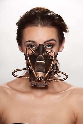 Gold Steam Punk Gas Mask Respirator Sci-Fi Goth Halloween Costume Hydra Prop
