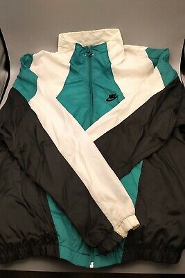 Vintage 90s - Nike Full Zip Retro Windbreaker Jacket -  Size L - Aqua/White -A11