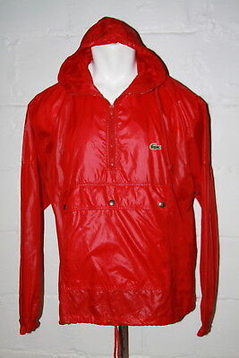 VTG IZOD Lacoste Red Pullover Packable Pocket Windbreaker Jacket Sz L Large for sale  Shipping to India