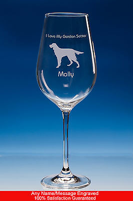 Gordon Setter Dog Gift Personalised Engraved Fine Quality Wine Glass