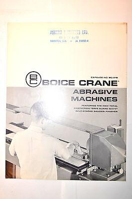 Boice Crane Abrasive Machines Catalog No. Bc-21b Rr818 Sanders Finishers